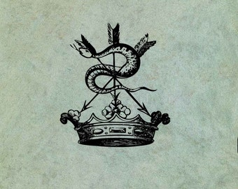 Crown with Hissing Snake and Arrows  - Antique Style Clear Stamp