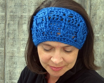 Cabled crochet headband, headwrap, ear warmer - royal blue - crochet accessories Winter Fashion handmade Salutations Crochet