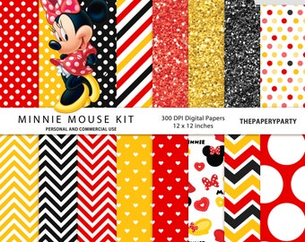 Minnie Mouse Digital Papers 12 x 12 inches 300 DPI yellow red and black patterns