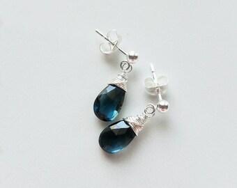London Blue Topaz Earrings, Sterling Silver Stud Earrings, Genuine London Blue Topaz, Topaz Stud Earrings, London Blue Topaz Jewelry