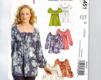 Misses Sewing Pattern McCalls M5451 5451 Womens' Stitch and Save high Waist Peasant Top Tunic Multisize Size Large XL 16 18 20 22 UNCUT