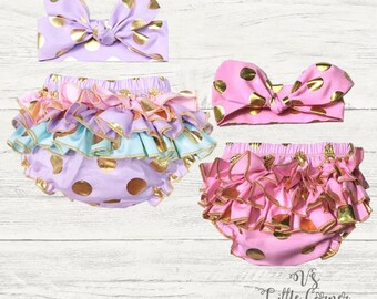 Baby Girl Outfit, ruffle diaper cover bloomer bottom, New Baby Gift, Purple and pink , Unicorn birthday outfit, cake smash, gold