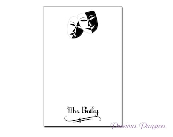 Personalized drama teacher notepad with masks drama coach gift theater teacher gift
