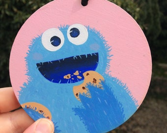 Cookie Monster Inspired Hand Painted Wall Plaque
