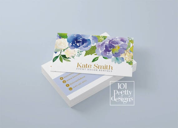 Floral business card template blue flowers business card cheaphphosting Image collections