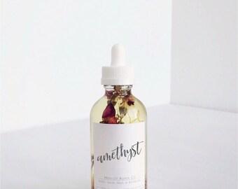 Amethyst Multi-Use Oil, jojoba oil, body oil, bath oil, sweet almond oil, safflower oil, roses, lavender, calendula, hair oil, nails