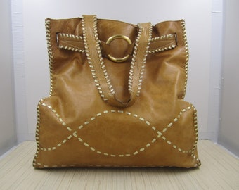 Bebe leather tote in a gorgeous golden tan shade