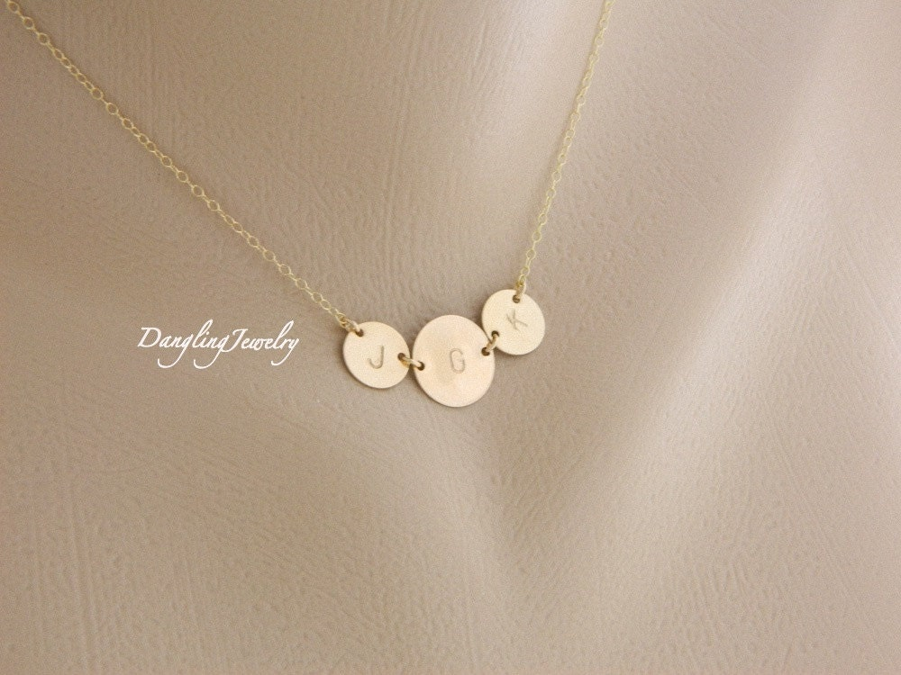 Personalized mother necklace gold three disc necklace mother zoom mozeypictures Image collections