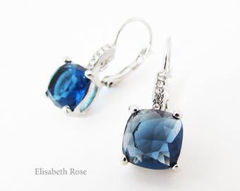 Navy Blue Earrings, Blue Crystal Earrings, Navy and Silver Earrings, Square Blue Crystal Earrings, Blue Swarovski Earrings
