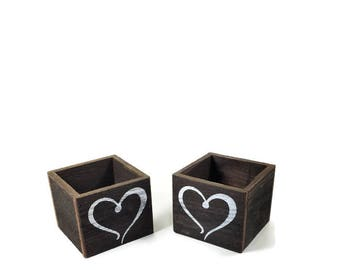 Small Wood Boxes - 2 Heart Planters - Succulent Garden and Wedding Decor - Valentine's Day Planters for Succulents or Flowers