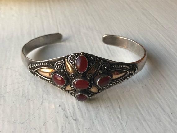 Eastern European Carnelian Sterling Silver and Vermeil Bracelet