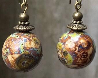 Czech Glass Earrings, Bronze Earrings, Multi-colored Earrings, Rustic Earrings, Nature Earrings, Statement Earrings, Boho Earrings