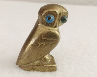 "Vintage Miniature 3/4"" by 1 1/4"" Brass Owl with Blue Eyes"
