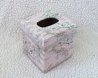 Blush Central Park Toile TISSUE BOX COVER - Children Toile Kleenex Box Cover - Nursery Decor - Made-To-Order