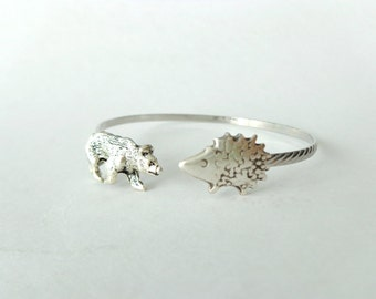 bear hedgehog bracelet, wrap style, animal bracelet, charm bracelet, bangle
