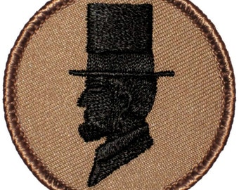 Abe Lincoln Patch - 2 Inch Diameter Embroidered Patch