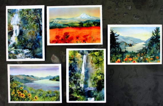 Columbia Gorge Magnets #7 - Bonnie White watercolor prints turned into magnets - 5 2 1/2x3 1/2 magnets