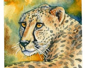 Cheetah Watercolor -  Cheetah Art Print - Nursery Art - Safari Nursery Decor - Safari animal