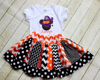 Girls Halloween Disney outfit Minnie Mouse witch shirt with matching skirt Toddler Girl Halloween Disney clothing set