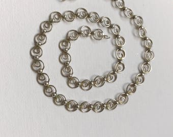 Vintage Sterling Silver Circles Dots Chain Necklace