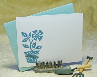 Flower Pot Letterpress Flat Notes