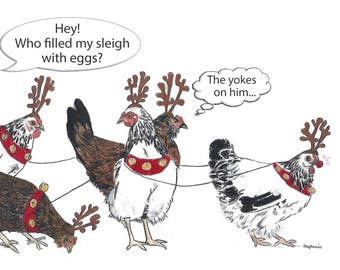 Humorous Christmas Card, Chicken Christmas Card, Funny Hen Card, Blank Inside
