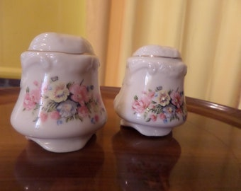 Lovely Cream Ceramic Textured 1950's Salt and Pepper Shakers with Hand Painted Floral Design in Pink and Yellow