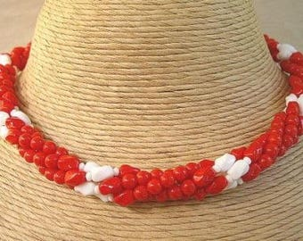 1940's Vintage Chunky Red & White Multi Strand Necklace