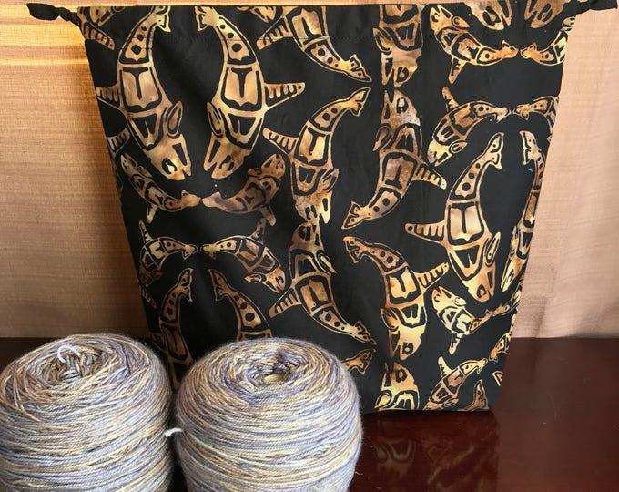 Batik Sharks : Large Drawstring Project bag