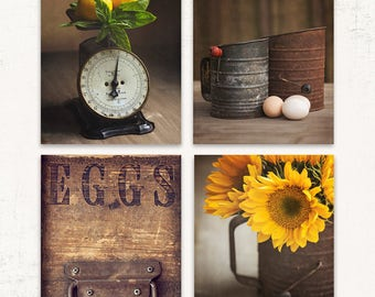 Rustic Farmhouse Wall Art, SET of FOUR Prints or Canvases, Rustic Kitchen Decor, Fixer Upper Wall Art, Rustic Country Wall Art, Yellow Art