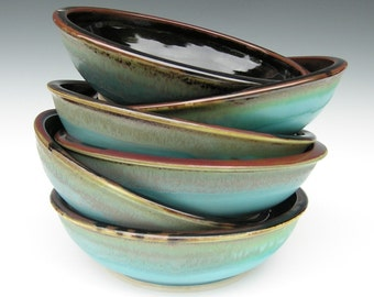 Set of 6 Pasta Bowls in Brown and Turquoise - dinnerware
