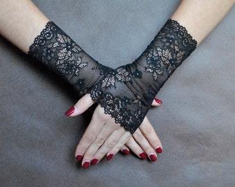 Elegant GOTHIC VAMPIRE Glamour GLOVES geometrical black short lace gloves, prom, gothic lolita, charajuku, black lady