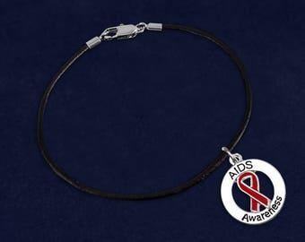 12 AIDS Awareness Round Black Cord Bracelets (12 Bracelets) (BC-P35-6AI)
