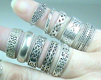 Sterling Silver Band Ring, Celtic 925 Bands, Vintage Sterling Bands,925 Twisted Rope Band Assortment, Indonesian 925 Sterling Patterned Band