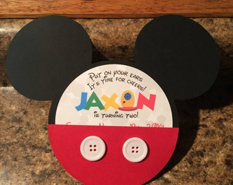 15% OFF!! --- Mickey Mouse Pocket Birthday Invitations, With Envelopes! Sets of 25, 35, & 45
