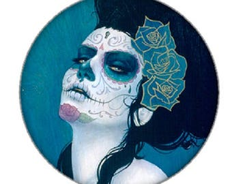 18mm cabochon and Blue rose calavera face