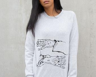 Hold Me Egon Pullover - Egon Schiele Hands - Schiele Embrace - Soft Sweatshirt - High End Sweatshirt - Boutique Pullover - Eco Artist Hoodie