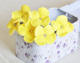 Hairpins , decorative Hairpins , Hairpins for bride, yellow Hairpins , Hairpins with hydrangeas , Bride hairstyle