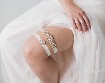 Rose Gold Wedding Garter | Rose Gold Garter Set | Bridal Garter Set | Crystal Rhinestone Garter Set | Rose Gold Toss Garter | Gemma Garter