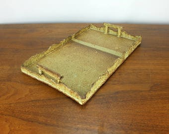 Vintage Brutalist Pottery Serving Tray with Handles 70's 80's Retro Modern Handmade Unique