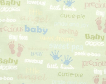 Nursery Flannel Prints - Oh Baby Words - 28 inches