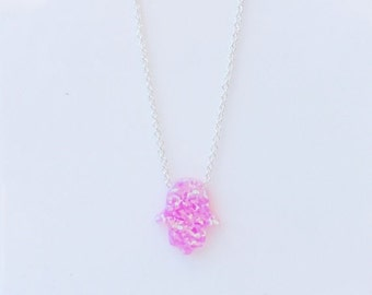 "Opal Hamsa Necklace • Pink Hand on a 12"" to 18"" Inch Long Box or Link Chain • Waterproof • Best Price Online • Pink Gift For Her"