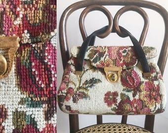 Vintage purse- Needlepoint purse- Floral purse- Tapestry purse- Vintage handbag- Floral tapestry bag- 1950s purse