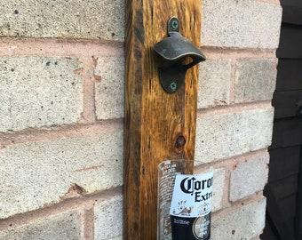 Wall mounted bottle opener, reclaimed wood, beer bottle catcher. Ideal gift - Moving In Present/ Bestman/ Garden/ BBQ/ Man Cave/ Bar Area