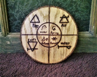 Wood Burned Wooden Wall Hanging - Alchemy Elements and Seasons Symbols