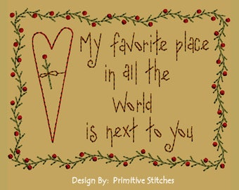 MACHINE EMBROIDERY-My Favorite Place-5x7-Instant Download