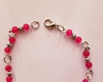 Hot pink frosted beaded bracelet
