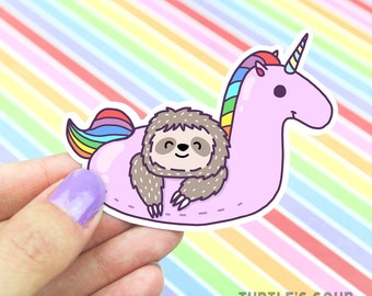 Gift For Mom, Sloth Sticker, Cute Unicorn Sticker, Rainbow Sticker, Skateboard Sticker, Decorative Stickers, Pool Party Sticker, Pool Float