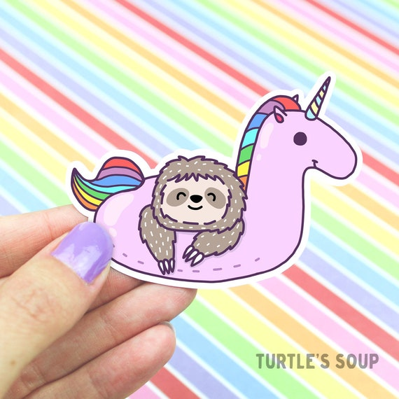 Pink D Tag Sloth Sticker