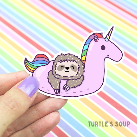 Gift for mom sloth sticker cute unicorn sticker rainbow